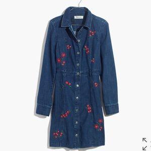Madewell embroidered denim dress/jacket